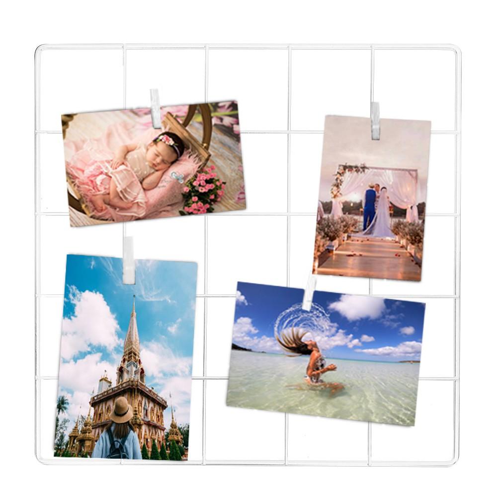 Painel de Fotos Memory Board Aramado 30x30 Branco+Prend.