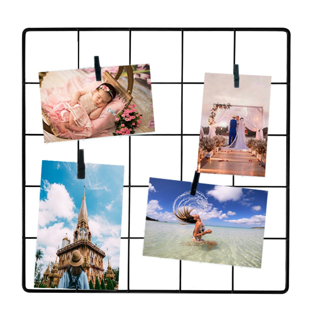 Painel de Fotos Memory Board Aramado 30x30 Preto+Prended.