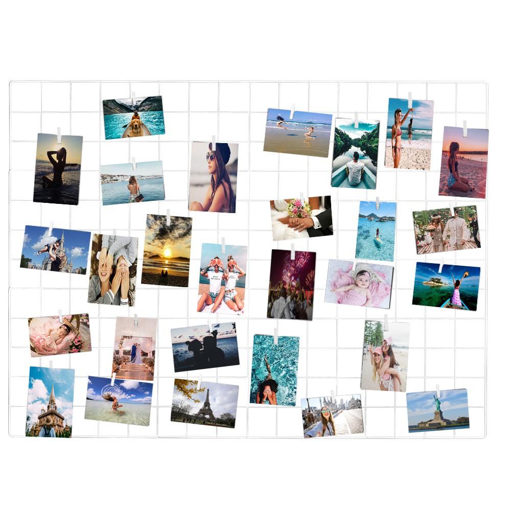 Painel de Fotos Memory Board Aramado 60x80 Branco+Prend.
