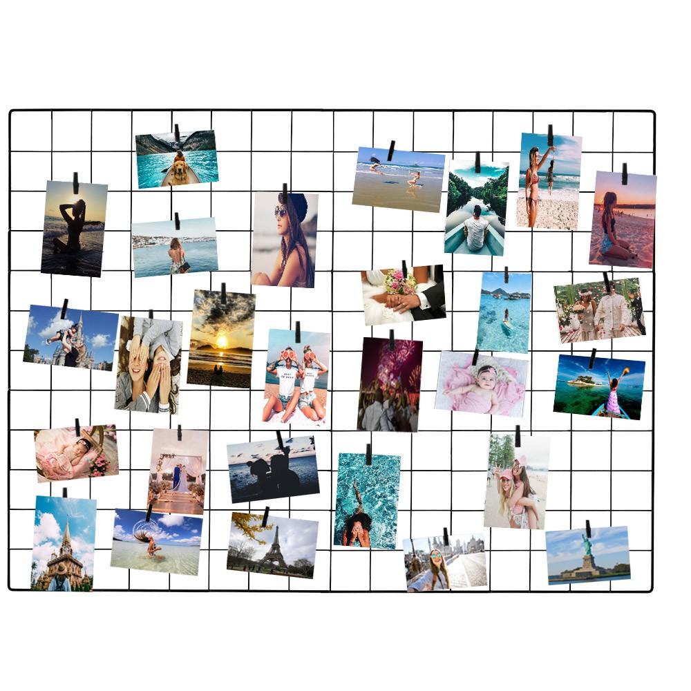 Painel de Fotos Memory Board Aramado 60x80 Preto com Prendedores