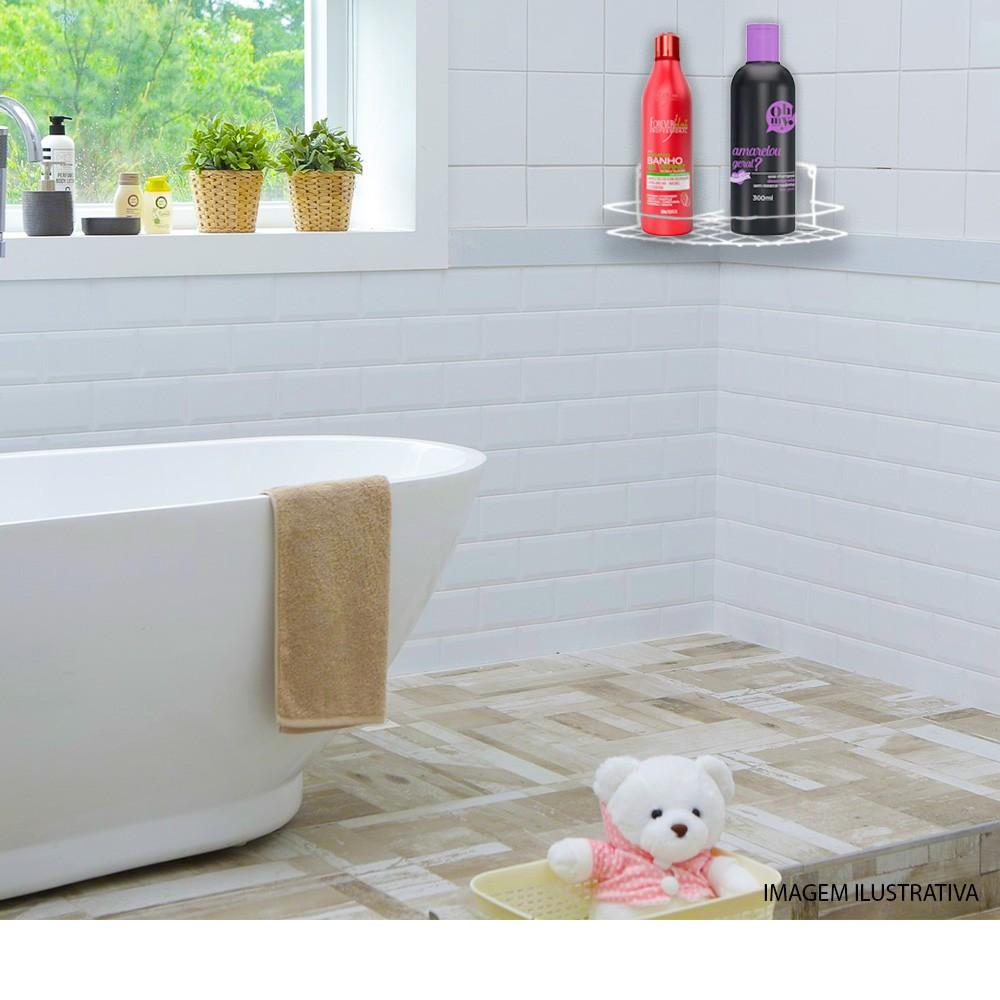 Porta Shampoo De Canto Simples Branco