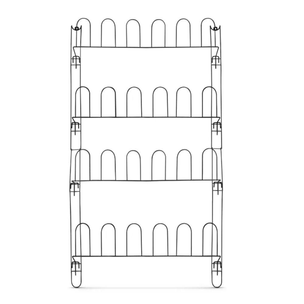 Sapateira de Porta ou Parede em Aço Aramado Preto