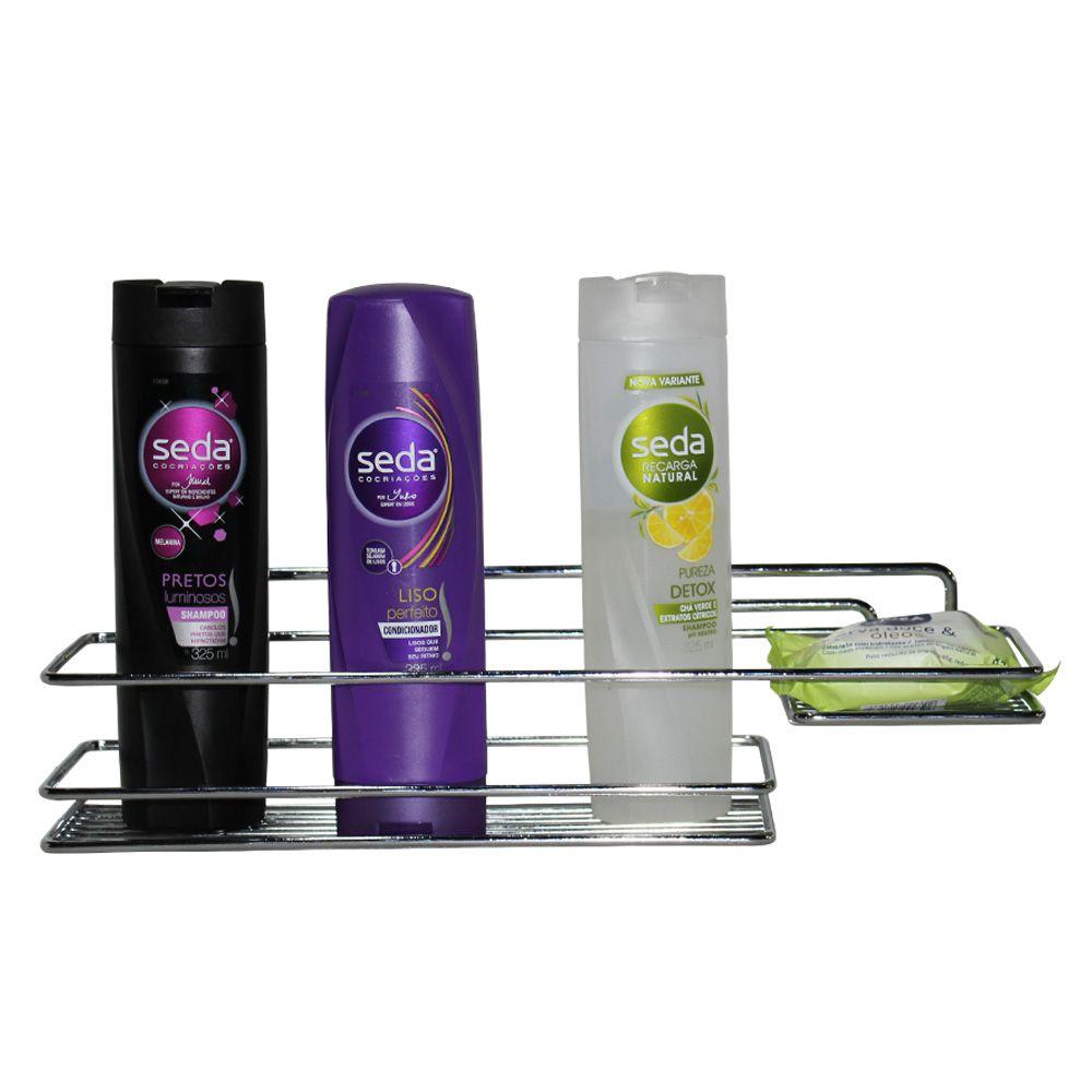 Suporte Porta Shampoo e  Saboneteira em Aço Cromado