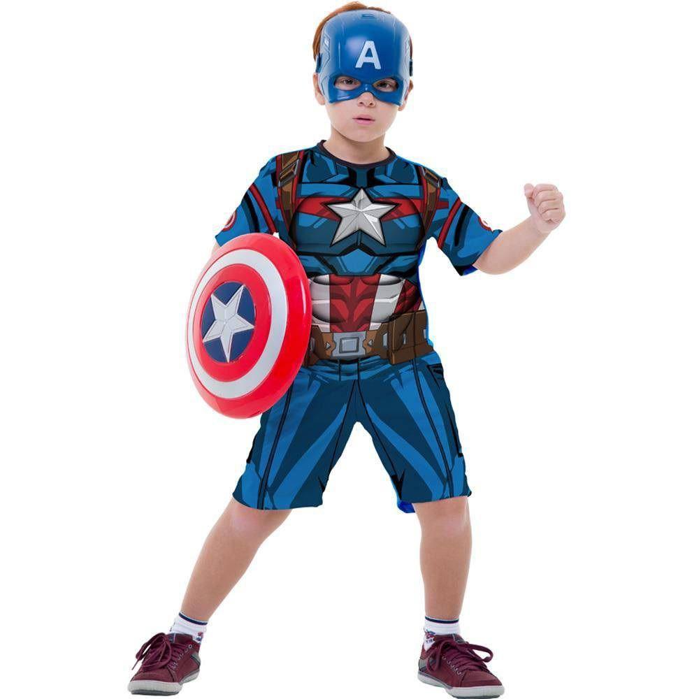 1e00fd9b541 Fantasia Capitão América Infantil Curta Com Escudo Original Marvel Rubies  2121