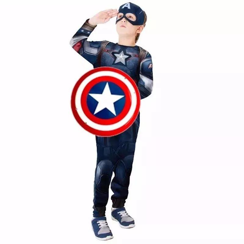 7d39d803df6 Fantasia Capitão América Infantil Longa Com Escudo e Musculatura em Espuma  Original Marvel Rubies 1107