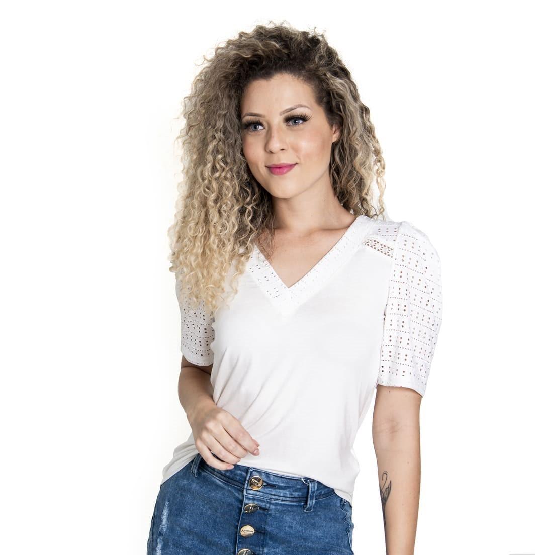 BLUSA DOCE TRAMA FEMININO DECOTE V - 61515