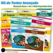 Kit de testes para análise de água em piscicultura, carcinicultura e aquaponia - Avançado - Nacional Alcon + Nitrato importado SERA