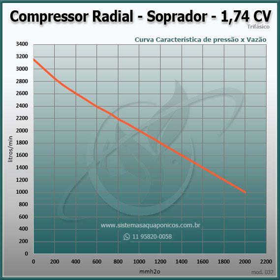 Compressor Radial - Soprador - trifásico - Asten - 1,74 CV - 3160 litros por minuto - mod037  - MixVidas - Sistemas Aquapônicos e Multitróficos