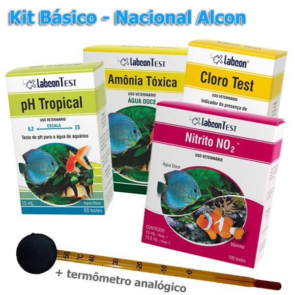 Kit de testes para análise de água em piscicultura, carcinicultura e aquaponia - Básico - Nacional Alcon  - MixVidas - Sistemas Aquapônicos e Multitróficos