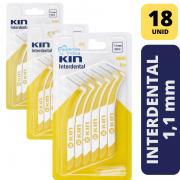 KIN - KIT 3X INTERDENTAL MINI 1,1 MM - AMARELA