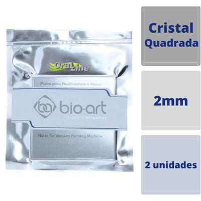 BIOART - PLACA MOLDEIRA QUADRADA CRISTAL 2MM - 2 Unidades