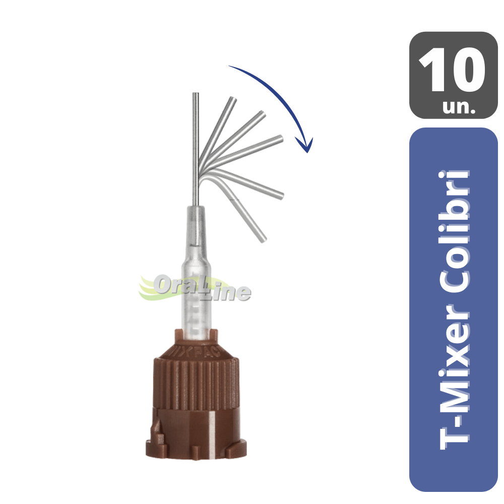 Ponta Misturadora Cimento Resinoso| Marrom | MIXPAC T-Mixer Colibri | 10 unidades