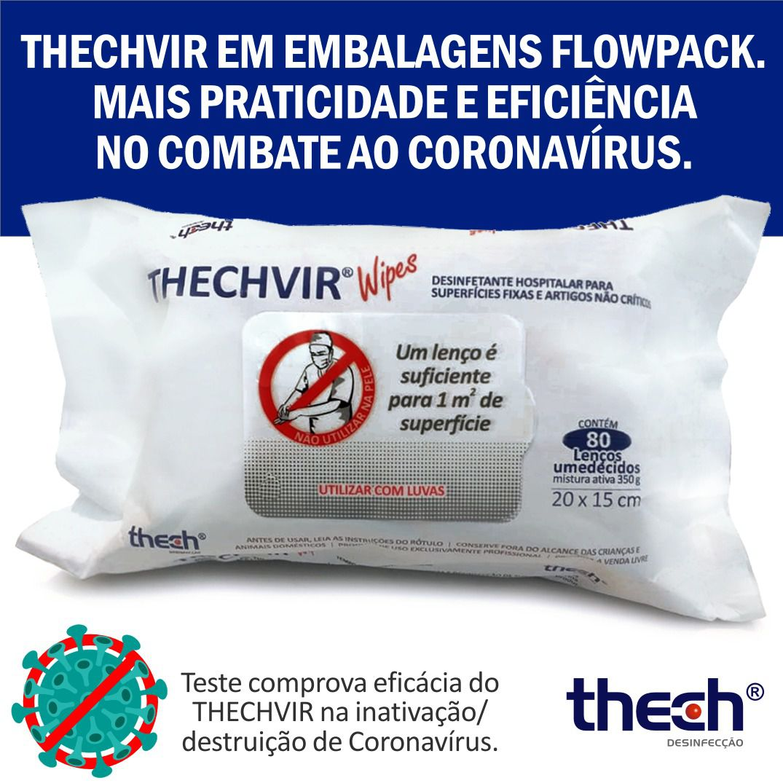 Lenços Desinfectantes TechVir - 80 unidades