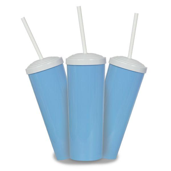 10 Un. - Long Drink Azul Bebê com Tampa e Canudo Branco