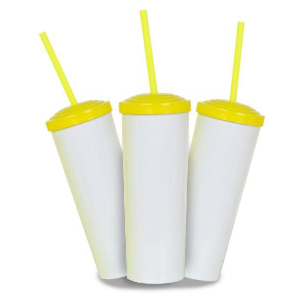 10 Un. - Long Drink Branco com Tampa e Canudo Amarelo