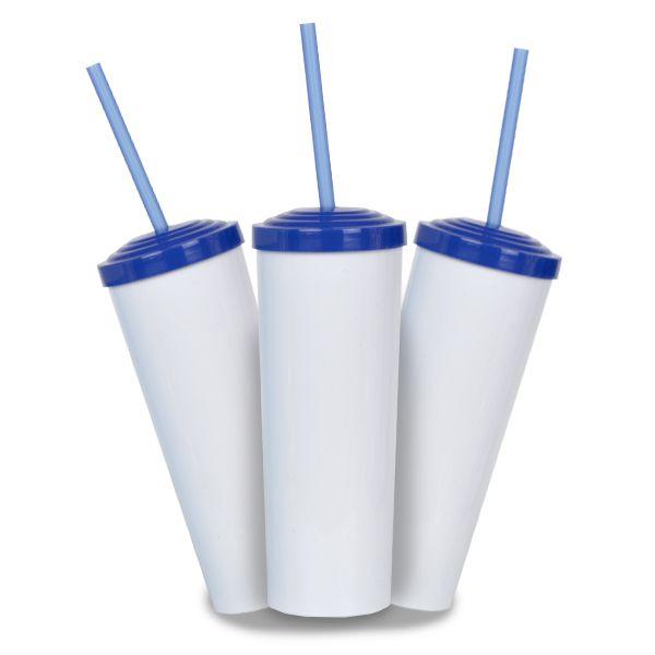 10 Copos Long Drink Branco - Tampa e Canudo Azul Royal