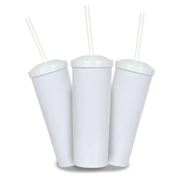 10 Un. - Long Drink Branco com Tampa e Canudo Branco