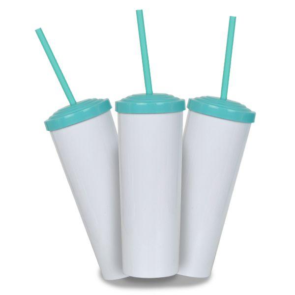 10 Un. - Long Drink Branco com Tampa e Canudo Tifany