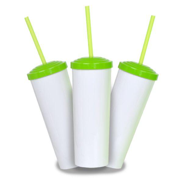10 Un. - Long Drink Branco com Tampa e Canudo Verde