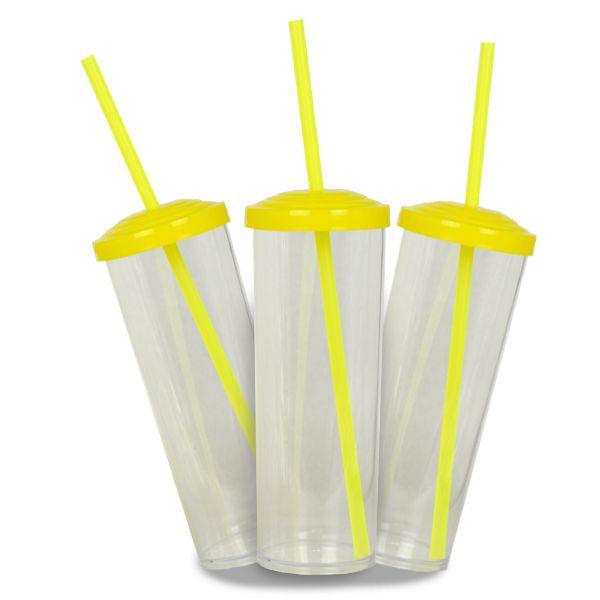 10 Un. - Long Drink Cristal com Tampa e Canudo Amarelo