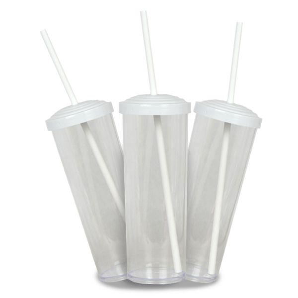 10 Un. - Long Drink Cristal com Tampa e Canudo Branco