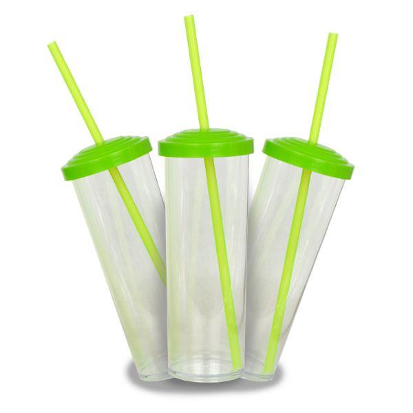 10 Un. - Long Drink Cristal com Tampa e Canudo Verde