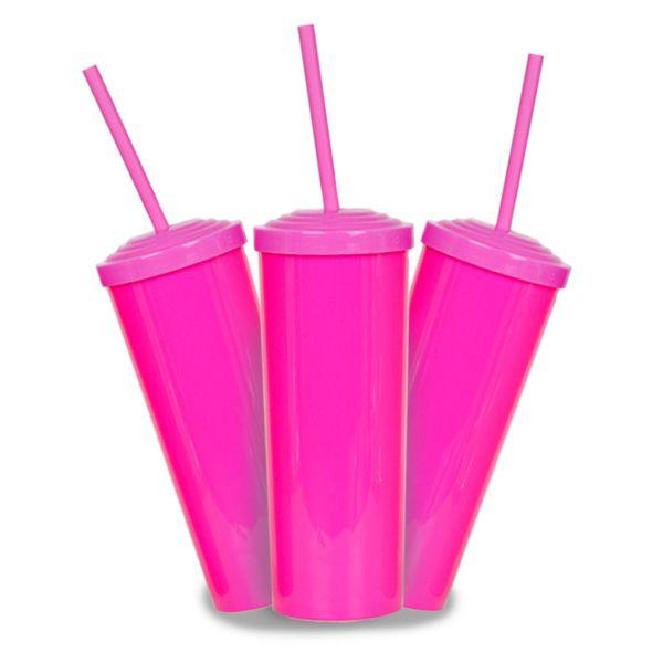 10 Un. - Long Drink Rosa Pink com Tampa e Canudo Rosa
