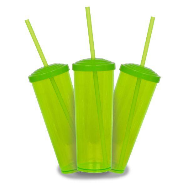 10 Un. - Long Drink Verde Neon com Tampa e Canudo Verde