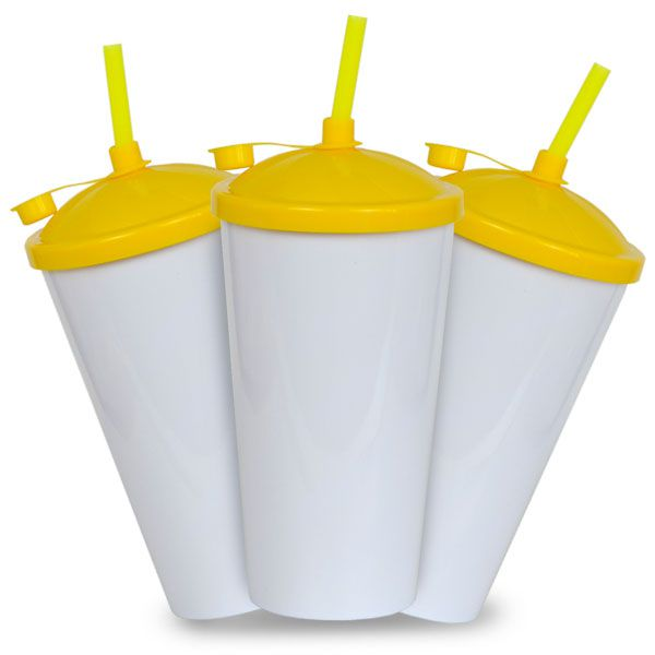 Copo Twister Branco com Tampa e Canudo Amarelo - 550ml - Pct c/ 10 Unidades