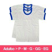 Camiseta 100% Poliéster -  Adulto - Branca Detalhe Azul -  Manga Curta