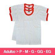 Camiseta 100% Poliéster - Branca Detalhe Vermelho - Adulto - Manga Curta