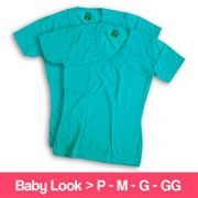 Camisetas 100% Poliéster - Baby Look - Gola V - Manga Curta - Azul Turquesa