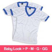 Camisetas 100% Poliéster - Baby Look - Gola V - Manga Curta - Branca com Detalhe Azul