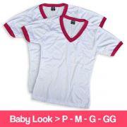 Camisetas 100% Poliéster - Baby Look - Gola V - Manga Curta - Branca com Detalhe Pink