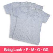 Camisetas 100% Poliéster - Baby Look - Gola V - Manga Curta - Cinza Mescla