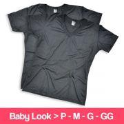 Camisetas 100% Poliéster - Baby Look - Gola V - Manga Curta - Preta