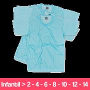 Camisetas 100% Poliéster - Infantil - Manga Curta - Azul Claro