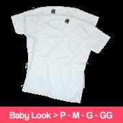 Camisetas 100% Poliéster - Baby Look - Gola V - Manga Curta - Branca