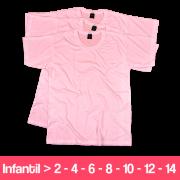 Camiseta  - Infantil - Rosa Claro - Manga Curta - 100% Poliéster
