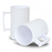 Caneca de Chopp Acrilico - Branco - 500ml - Pt c/ 12 unidades