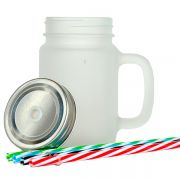 Caneca Mason Jar para Sublimação - Caneca de Vidro com canudo - Tampa de Rosca -  Jateado