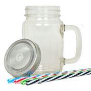 Caneca Mason Jars para sublimação - Caneca de vidro com Canudo - Vidro Transparente