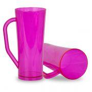 Caneca Twister com Alça Rosa Translucido - 450ml - Pt c/ 10 unidades