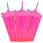 Copo Twister com Tampa e Canudo Rosa Translucido - 550ml - Pct c/ 10 unidades