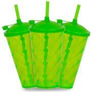 Copo Twister com  Tampa e Canudo Verde Translucido - 550ml - Pct c/ 10 Unidades
