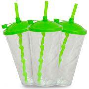 Copo Twister Cristal com Tampa e Canudo Verde - 550ml - Pct c/ 10 unidades