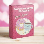 Kit 12 Artes Tema Amor para Canecas