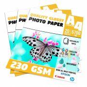 Papel Glossy Photo Paper 230g - A4 Pacote com 20 folhas