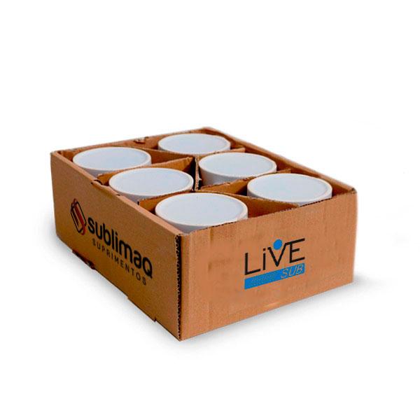 6 Caneca de Cerâmica Branca Super Quality Live