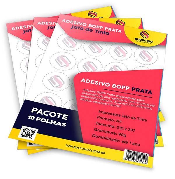 Adesivo BOPP Prata para Impressora Jato de Tinta - Pct C/ 10 folhas A4